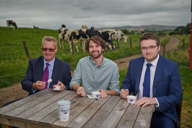 RECIPE FOR GROWTH: Picture (L to R) at Hesper Farm, Skipton, are Garbutt & Elliott banking director, David Streather; Hesper Farm Dairy Ltd managing director, Sam Moorhouse and Garbutt & Elliott corporate finance senior manager, Stephen Garbett. -