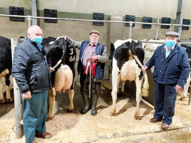 Paul Dunn, centre, with the Craven Dairy Auction Christmas reserve champion, joined by co-judges, Ernie Wilson, left, and John Harrison, who is with the Moorhouse family's supreme champion